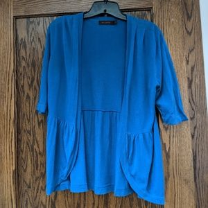 LIMITED, L cardigan, blue, elbow length sleeves